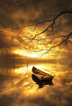 If not for the boat it would be difficult to see where the water's edge meets the sky,,, Beautiful World, Beautiful Places, Beautiful Pictures, Music Background, 3 Chakra, Foto Art, Beautiful Sunrise, Shades Of Yellow, Yellow Black