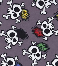 Snuggle Flannel Fabric- Crazy SkullsSnuggle Flannel Fabric- Crazy Skulls,