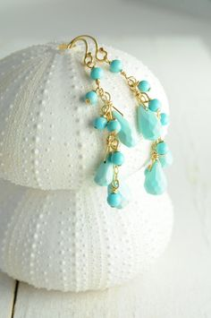 gorgeous gold and blue drop earrings