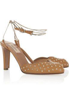 Valentino Chain-strap scalloped leather pumps