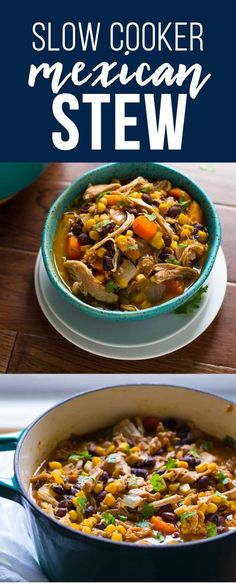 Healthy Meals This healthy crockpot Mexican chicken stew is inspired by tortilla soup. Packed full of delicious Mexican flavors and super simple to prepare! Slow Cooked Meals, Healthy Slow Cooker, Healthy Crockpot Recipes, Slow Cooker Recipes, Soup Recipes, Cooking Recipes, Crockpot Meals, Cooking Bacon, Chicken Recipes