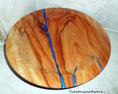 wood bowl, blue resin inlay, tcavanwoodworks, woodturnings, bowls, blue accent bowl