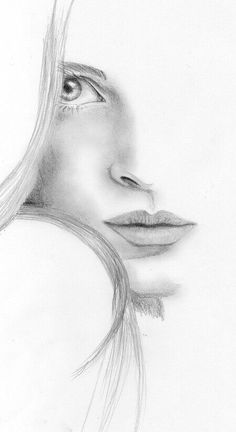 Portrait Drawing Image detail for -Woman face Sketch by ~lanfear-chess on deviantART - Pencil Art Drawings, Drawing Sketches, Drawing Faces, Sketching, Drawing Ideas, Drawing Women Face, Half Face Drawing, Drawing Portraits, Horse Drawings