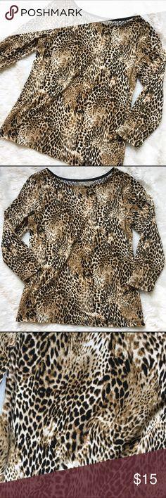 Cheetah Print Top Very comfy material. No rips or stains! Rafaella Tops