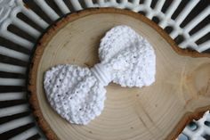 Large White Knitted Bow on Metal Barrette Clip by IvyandOrchid