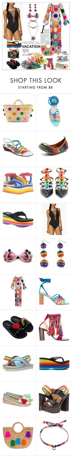 """""""Welcome to Paradise: Tropical Vacation"""" by yours-styling-best-friend ❤ liked on Polyvore featuring Nannacay, Sophia Webster, Impo, Shellys, Anya Hindmarch, Volatile, BLEU Rod Beattie, My Beachy Side, Via Pinky and Love Moschino"""