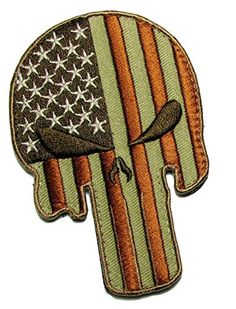 "[Single Count] Custom, Cool & Awesome {3.5"" x 2.375"" Inches} Large Round Patriotic Desert Morale Punisher Death Skull w/ USA American Flag (Tactical Type) Velcro Patch ""Red, White, Tan & Brown"" mySimple Products http://www.amazon.com/dp/B016MXZNGO/ref=cm_sw_r_pi_dp_X2vOwb05GDE7F"
