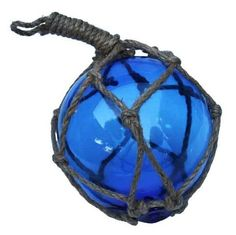 Nautical BLUE Glass Fishing Float - jute net - beach house decor