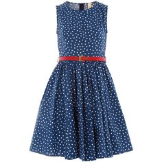 Blue polka dot belted dress (455 MXN) ❤ liked on Polyvore featuring dresses, vestidos, women, flared dress, polka dot dress, blue sleeveless dress, blue dot dress and dorothy perkins dress