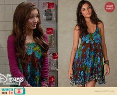 Riley's brown and blue floral dress on Girl Meets World.  Outfit Details: http://wornontv.net/35759/ #GirlMeetsWorld