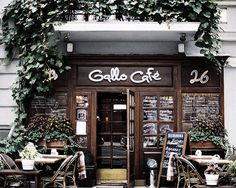 cafe style is in keeping with French Quarter design: brick walls, coffee colors, ivy growing around doorways, open doors for cooling breezes...