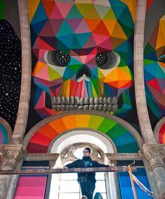 @ La Iglesia Skate by Okuda San Miguel Foto: Elchino Pomares Mural Art, Wall Murals, Wall Art, Art Pop, Modern Art, Contemporary Art, Post Modern, Okuda, Take Me To Church