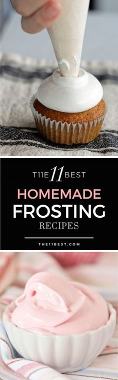 The 11 Best Homemade Frosting Recipes Learn how to make the best buttercream frosting and more! These recipes for frosting are perfect for cakes and cupcakes! Best Frosting Recipe, Homemade Frosting Recipes, Best Buttercream Frosting, Best Frosting For Cupcakes, Fondant Recipes, Fondant Tips, Cupcake Icing Recipe, Baking Cupcakes, Homeade Desserts