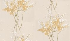 Barrington (NCW4067-03) - Nina Campbell Wallpapers - A scattering of colourful stylised blossom. Showing in Golden yellow - other colour ways available. Please request a sample for true colour match.