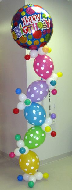 100 plus balloon pins on CaBeatrice's Balloon Board; Happy Birthday Balloons in column