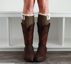 Knit Boot Cuffs, Boot Toppers, Uptown Girl Co. These are knit lace boot cuffs with two buttons. Perfect fit for women and teenagers. Mocha.