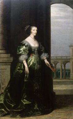 Henrietta Maria by unknown (background by Hendrik van Steenwyck) (circa 1635) National Portrait Gallery, London