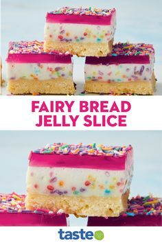 No Cook Desserts, Delicious Desserts, Dessert Recipes, Yummy Food, Thermomix Desserts, Jelly Slice, Yummy Things To Bake, No Bake Slices, Fairy Bread