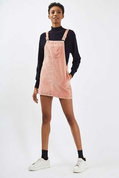 PETITE Velvet Pinafore Dress - Topshop USA