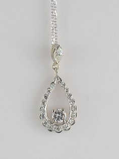 Romantic, sparkling and elegant,Vintage Diamond Drop Pendant.
