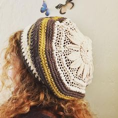 A cheater hat.  Take your favorite doily and start crocheting rows. Add a few increases and decreases and you've got yourself a slouchy!