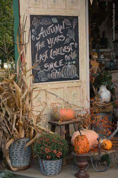 Autumn Chalkboard Door quote | homeiswheretheboatis.net #PottingShed #fall #mums #pumpkin