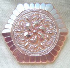 Czech Glass Button - Deco Style Pink Glass Floral Hexagon w/ AB Luster