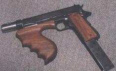 John Dillinger's Colt 1911 modified by Hyman Lebman into a machine pistol --- Colt M1911, Revolvers, Rifles, Cool Guns, Guns And Ammo, Weapons Guns, Self Defense, Bushcraft, Firearms