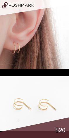 Fake double Hoop earrings A set of your choice of either 925 sterling silver, 14k rose or yellow gold filled fake/faux double Hoop earrings. They measure 8 mm in diameter and come with rubber ear backs. nejd Jewelry Earrings