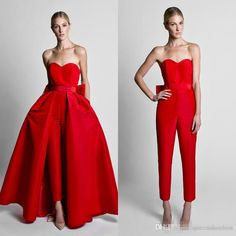 Krikor Jabotian Red Jumpsuits Celebrity Evening Dresses With Detachable Skirt Sweetheart Strapless Satin Guest Dress Prom Party Gowns Evening Maxi Dress Going Out Dress From Queenshoebox, $147.1| Dhgate.Com