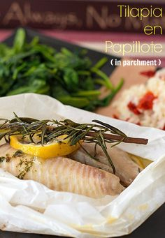 Tilapia en Papillote from ItsYummi.com - Tilapia, herbs and butter, all baked in up in heart shaped parchment paper - A romantic meal for 2! #SundaySupper