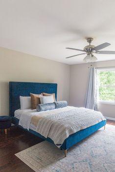 Velvet Bed Frame, Velvet Headboard, Navy Bedrooms, Master Bedrooms, Bedroom Inspo, Bedroom Ideas, Bedroom Decor, Box Bed, Blue Bedding