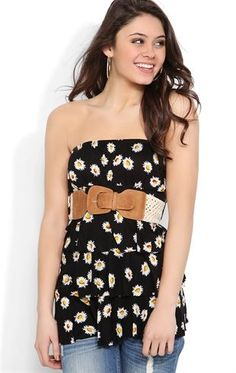 Deb Shops #Daisy Print Ruffle Tube Top with Belted Waist $15.33