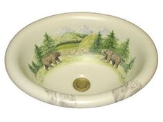 Marzi Oval Drop-In Sink, Bear Tracks Design - Marzi Oval Drop-In Sink with Hand-Painted Bear Tracks Design