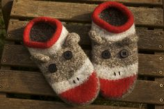 Sock Monkey Knitted Felted Clogs