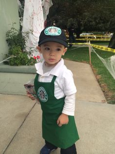 Halloween Starbucks Bartista costume. 1 1/2 years old costume. Custom made to  sc 1 st  Pinterest & 19 Insanely Adorable Starbucks Halloween Costumes For Kids of All ...
