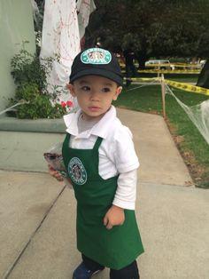 Halloween Starbucks Bartista costume. 1 1/2 years old costume. Custom made to  sc 1 st  Pinterest & 18 Insanely Adorable Starbucks Halloween Costumes For Kids of All ...
