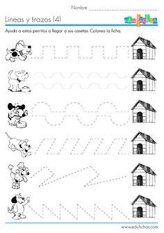 Ficha educativa infantil: repasa las líneas con trazos complejos. La ficha es además coloreable, de forma que aprender es divertido. Fichas y recursos.