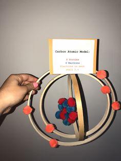 Carbon Atomic Model Project Carbon Atom Model, 3d Atom Model, Atom Model Project, Science Project Models, Chemistry Projects, Science Projects, School Projects, Projects For Kids, Chemistry Classroom