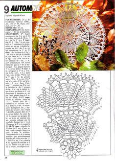 Photo from album Mailles № 205 on Yandex. Lace Doilies, Crochet Doilies, Crochet Lace, Doily Patterns, Crochet Patterns, Crochet Doily Diagram, Pineapple Crochet, Dmc, Thread Crochet