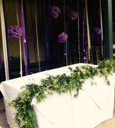 Fresh foliage and flower garland for the ceremony table. Lavender, gyp, eucalyptus