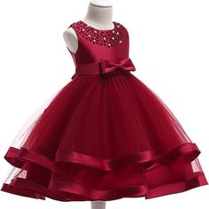 Item Type: Flower Girl DressesSleeve Style: Cap SleeveDecoration: Beading,Pleat,RuchedNeckline: ScoopSilhouette: Ball Gown Actual Images: YesModel Number: Length: Knee-LengthSleeve Length(cm): SleevelessFabric Type: Tulleis_customized: Yes Red Flower Girl Dresses, Little Girl Dresses, Girls Dresses, Summer Dresses, Flower Girls, Birthday Girl Dress, Girls Party Dress, Birthday Dresses, Dress Girl