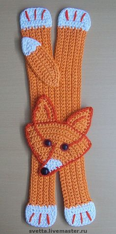 Could be a scarf , Crochet Fox, Crochet Cross, Cute Crochet, Crochet Motif, Crochet Animals, Crochet Flowers, Crochet Stitches, Crochet Patterns, Fox Crafts