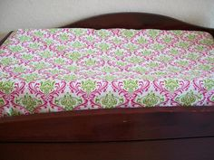 Pink and Green Madison  Damask Changing Pad Cover by MiaBellaBella, $22.00