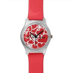 Valentine's Day pattern with red hearts Watch