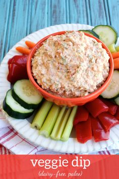 Paleo, Dairy-free Veggie Dip combines carrots, celery, bell pepper, sweet onion and dill for a healthy and delicious snack! Dairy Free Veggie Dip, Dairy Free Dips, Dairy Free Recipes, Paleo Recipes, Whole Food Recipes, Cooking Recipes, Dip Recipes, Gluten Free, Paleo Sauces