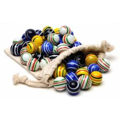 Assorted Stripe Marbles for Solitaire, Set of 33