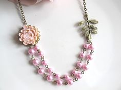 Nature Inspired Lotus Glamour Light Pink Lotus Flower Pink #necklace #handmade