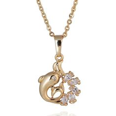 18K Gold Plated Crystal Dolphin Necklace and Pendant