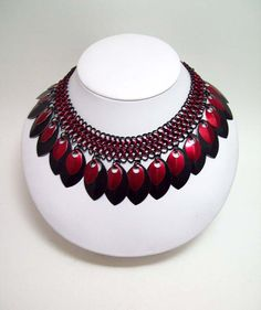 www.etsy.com/shop/eternalelfcreations  Choker, chainmaille, necklace, black, red, scale, necklace, Gothic choker, Gothic necklace, $40.00